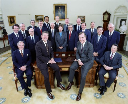 2/4/1981 official Cabinet photo of President Reagan Bush, Haig Weinberger Bell Lewis French Smith Kirkpatrick Edwards Brock Block Donovan Regan Stockman Pierce Watt Meese Baldrige Schweiker Casey in the Oval Office